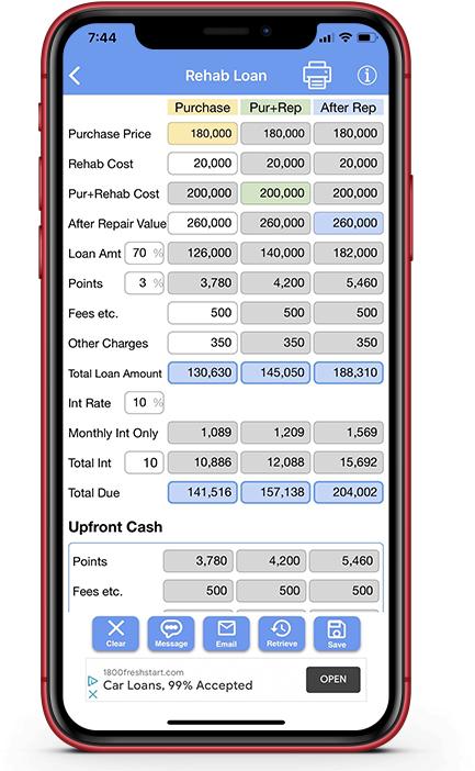 Rehab Loan Calculator; Renovation Loan Calculator;